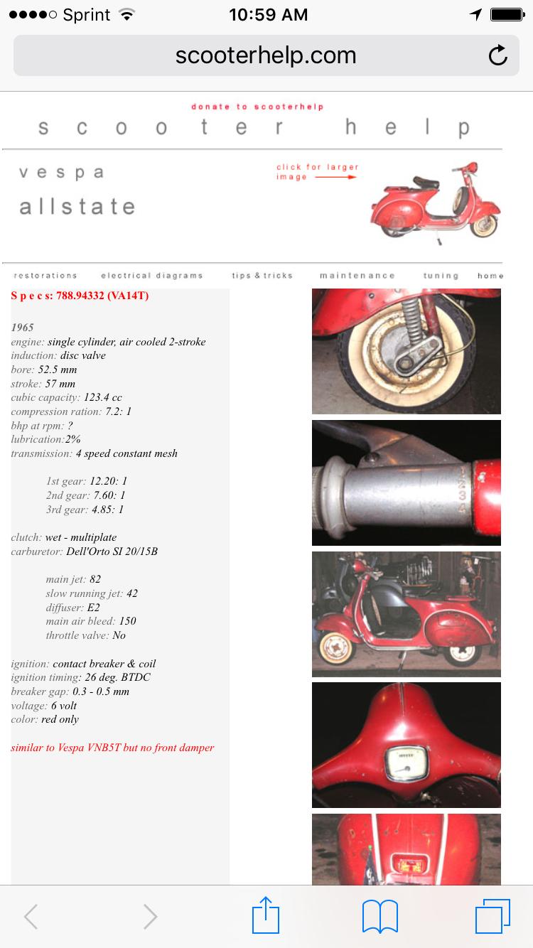 Vespa Allstate Wiring Diagram : Modern vespa vnb wiring question