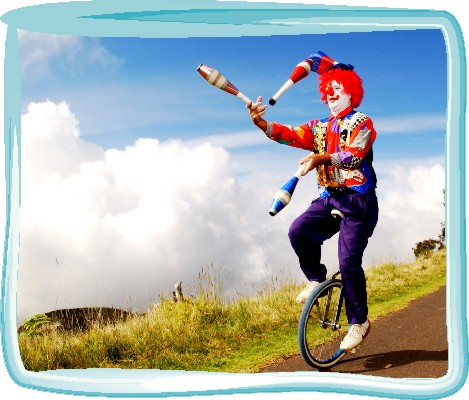 Image result for clown juggling on a unicycle