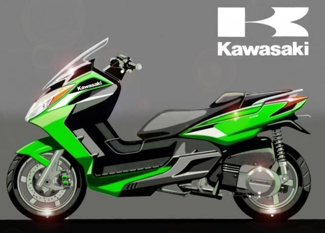 modern vespa kawasaki 300cc scooter. Black Bedroom Furniture Sets. Home Design Ideas