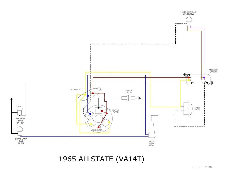 modern vespa : allstate 6 volts stop light 1965 ford wiring diagram with ammeter 1965 yamaha wiring diagram