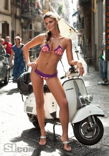 Modern Vespa Riding In High Heels