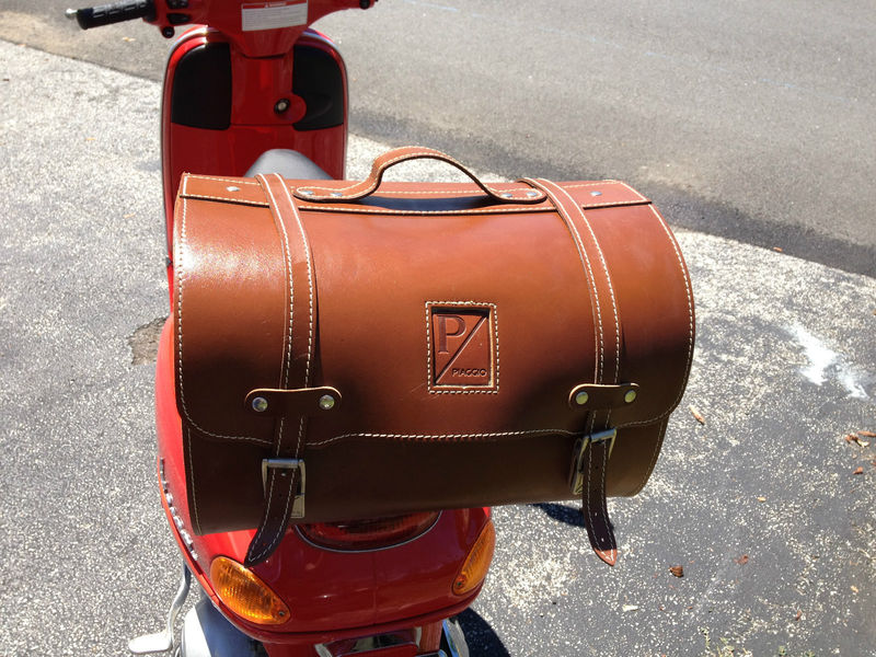 modern vespa piaggio large brown leather top case roll bag for sale. Black Bedroom Furniture Sets. Home Design Ideas