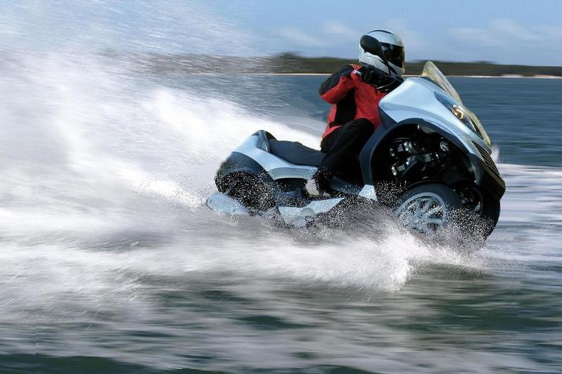 Modern Vespa Converts To Jet Ski