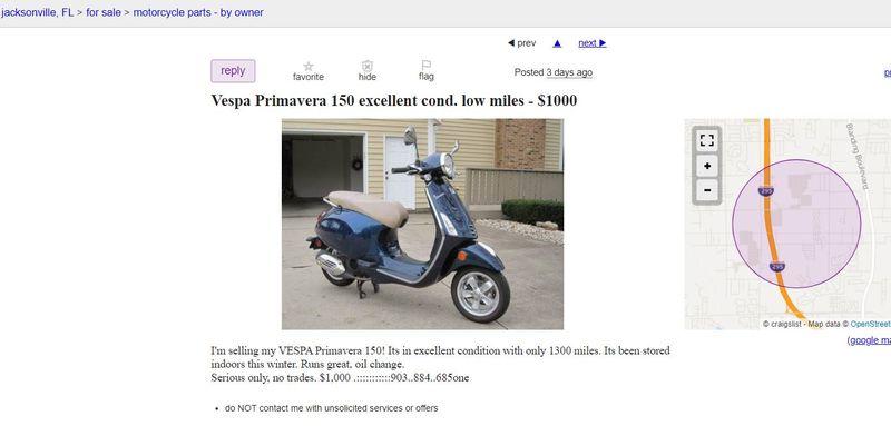 Modern Vespa : Vespa Primavera sale scam - [TX] and FL, CA ...